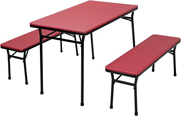 COSCO 3 Piece Indoor Outdoor Table And 2 Bench Tailgate Set Red Top Black Frame