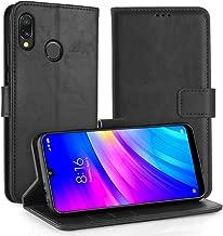 Simpeak Funda para Xiaomi Redmi 7 Funda Cuero Negro (6.26''/2019), Funda Libro Redmi 7 Soporte Plegable/Ranuras para Tarjetas y Billetes/Acceso a Botones/Cierre Magnético-Negro