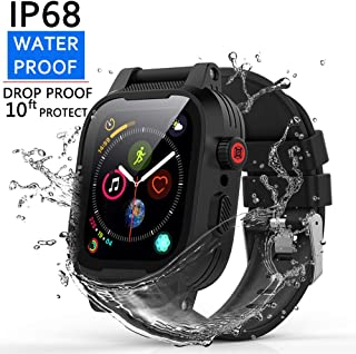 [Waterproof Case for 42mm] YOGRE IP68 Waterproof Watch Case, Full Sealed waterproof iWatch Case with Resilient Shock Absorption for 42mm iWatch Series 3 and 2, Package with 2 Soft Silicone Watch Band