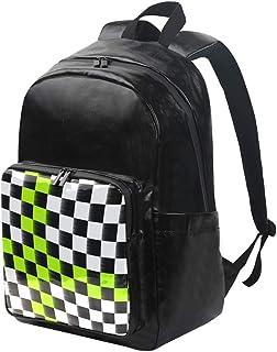 DEZIRO Mochila de lona con bandera de cuadros, mochila de viaje, mochila plegable al aire libre, correas ajustables para el hombro