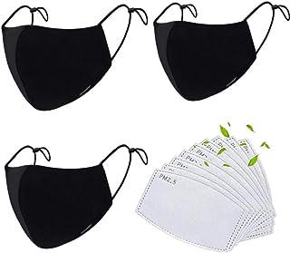 Mascarillas de tela de algodón reutilizables negras, Pack 3 mascarillas de tela lavable con 9 filtros