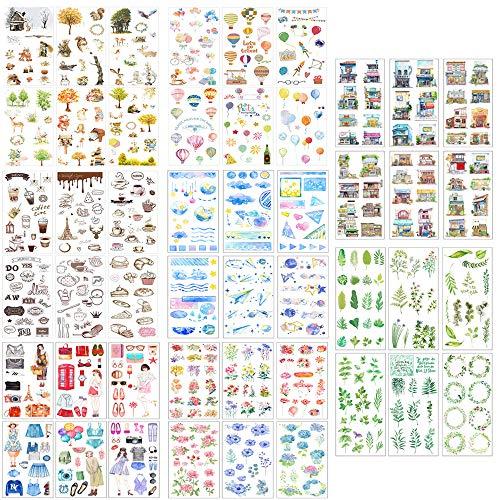 Scrapbooking Aufkleber, Japanische Papieraufkleber, 48 Blatt Fotoalbum Dekoration Tagebuch Album Stick Label für Tagebuch Scrapbook Kalender Notizbuch Fotoalbum DIY Dekoration (Set C)