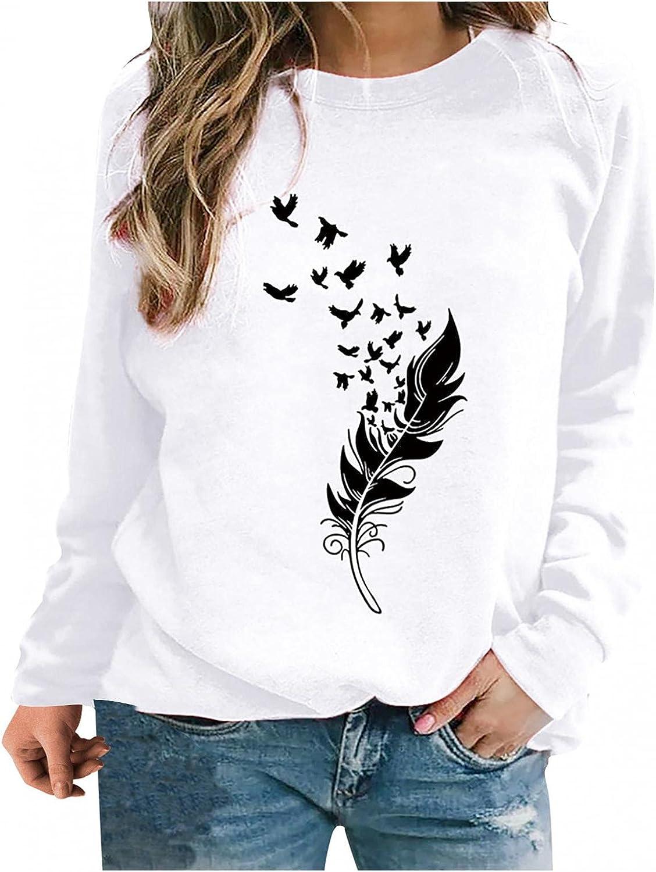 Sweatshirts for Women,WomenFlower Print Sweatshirts Tops Long Sleeve Crewneck Tops Plus Size Pullover Shirts