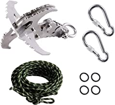 GearOZ Grappling Hook with Rope, Gravity Hook with Carabiner, 35ft Paracord Rope for Tree Climbing
