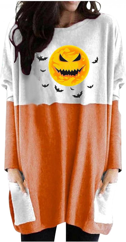 Womens Halloween Shirts Long Sleeve, Women's Halloween Pumpkin Cute Printed Sweatshirts Casual Loose Pullover Shirts
