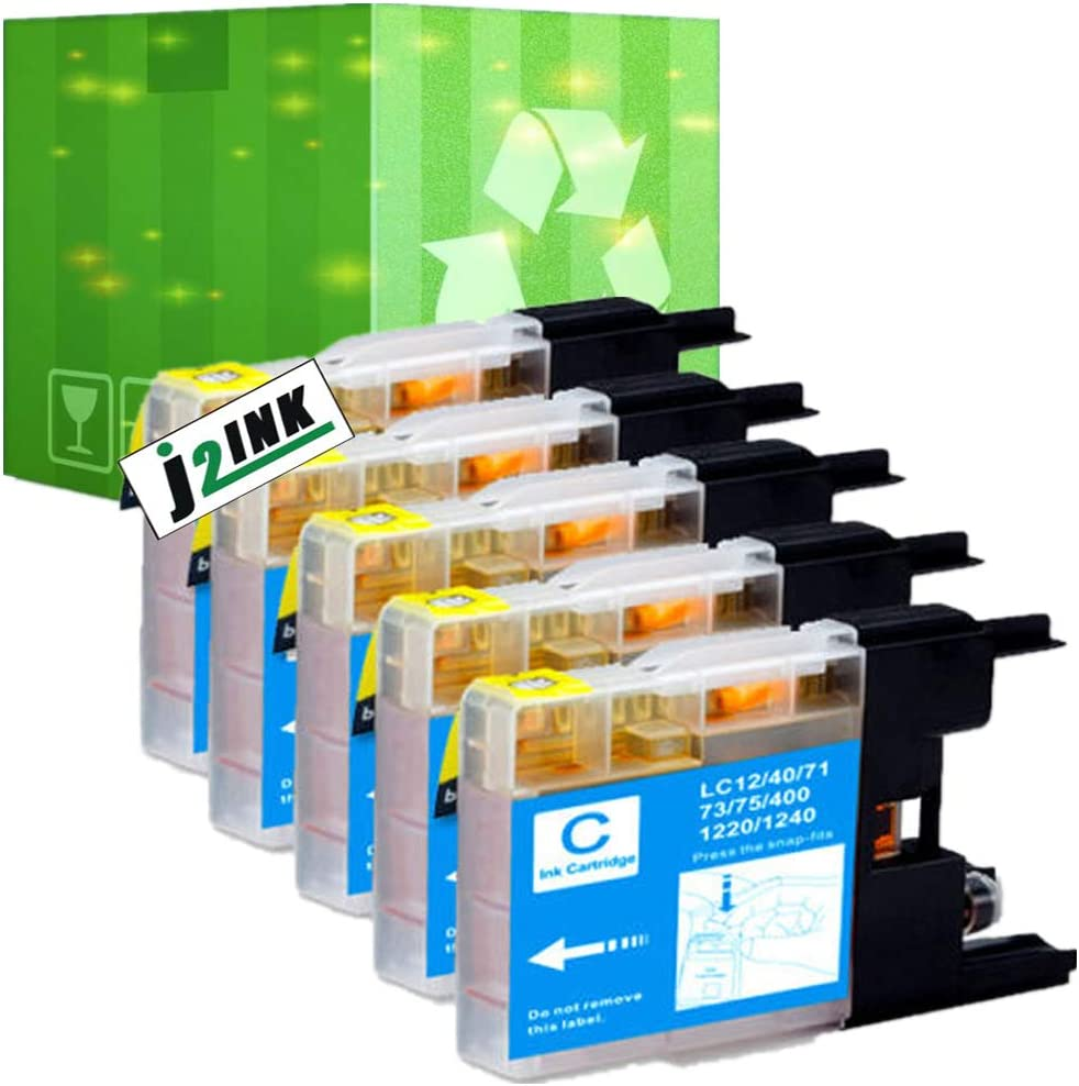 J2INK 5 Pack Compatible with Brother LC-71 LC-75 High Yield (XL Series) 5 Cyan