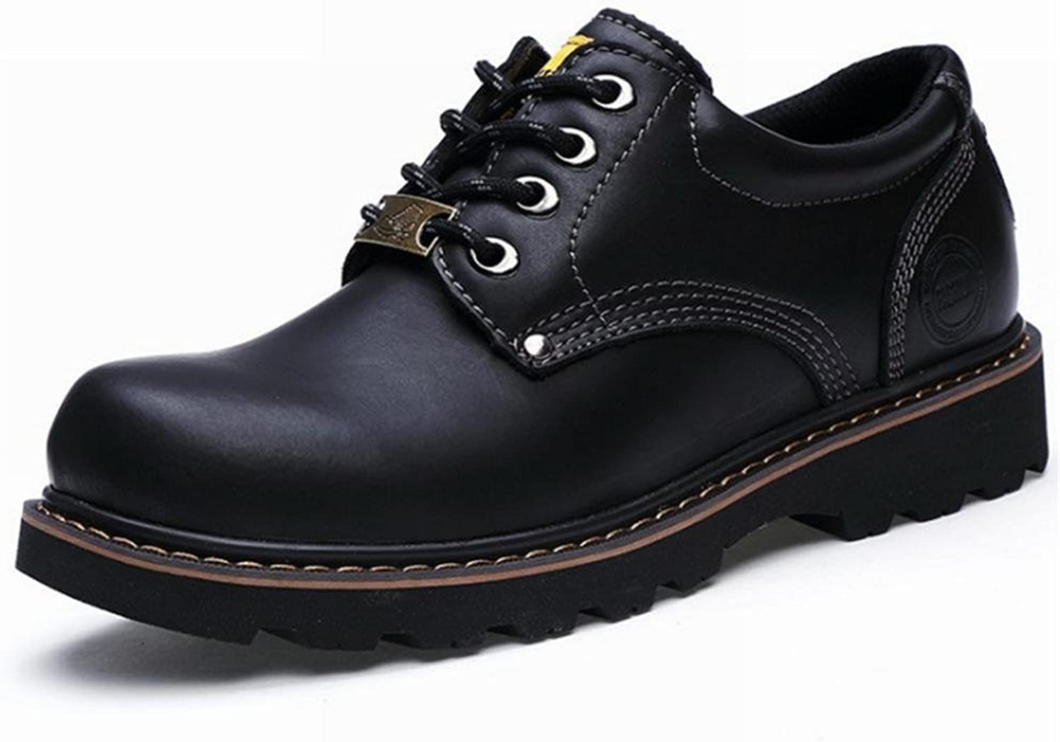 Men's Casual Leather shoes Rubber Safety Martin Trainers British Style Lace-up Black Derby (Size 39 To 45)