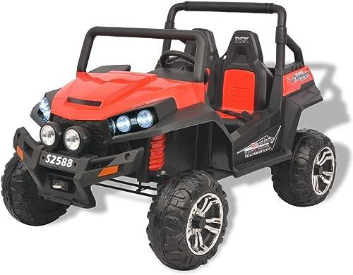SENLUOWX Elektro-Aufsitzauto für 2 Personen XXL Kinderauto Rot und SchwarzKinderfahrzeug aus Kunststoff