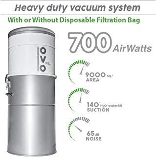 OVO Powerful Central Vacuum System - Heavy Duty Central Vac With Hybrid Filtration - 35L or 9.25Gal - 700 Airwatts Power Unit - OVO-700ST-35H (Renewed)