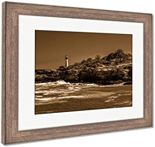 Ashley Framed Prints Rocky Coast and View of Portland Head Light at Fort Williams Pa, Wall Art Home Decoration, Sepia, 26x30 (Frame Size), Rustic Barn Wood Frame, AG6169375