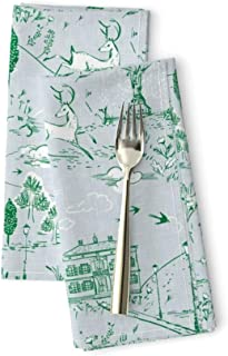 Roostery Toile Luxe Cotton Sateen Dinner Napkins Le PARC (Emerald) Park Vintage Garden Blue and Green Rabbit Fountain by Nouveau Bohemian Set of 2 Dinner Napkins