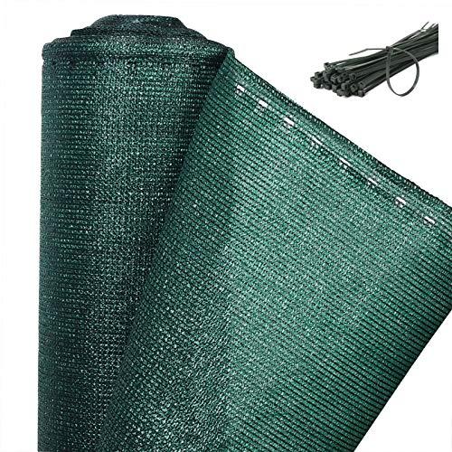 WOLTU GZZ1182m2 Zaunblende Tennisblende Schattiernetz Sichtschutz Windschutz Staubschutz Sonnenschutz Gewebe Netz mit Kabelbinder, grün, 1,5x10m