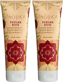 Pacifica Persian Rose Body Butter (Pack of 2) with Shea Butter, Jojoba Seed Oil, Cocoa Butter, Flax Seed Oil, Kukui Nut Oil and Vitamin E, 100% Vegan and Cruelty-Free, 8 oz