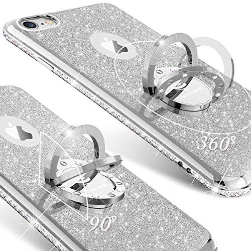OCYCLONE Fundas iPhone 6s PlusUltra Slim Soft TPU Purpurina