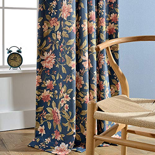 pureaqu Floral Leaf Print Navy Curtains Window Grommet Panels Thermal Insulated Faux Linen Look Room Darkening Drapes Curtains for Living Room/Balcony/Patio Doors 1 Panel W52 x L96 Inch