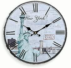 WADCRmgyx New York Cityscape Disque Vinyle Horloge Murale Skyline Statue de la Libert/é Art Mural Disque Vinyle Horloge USA Voyage Cadeau Souvenir