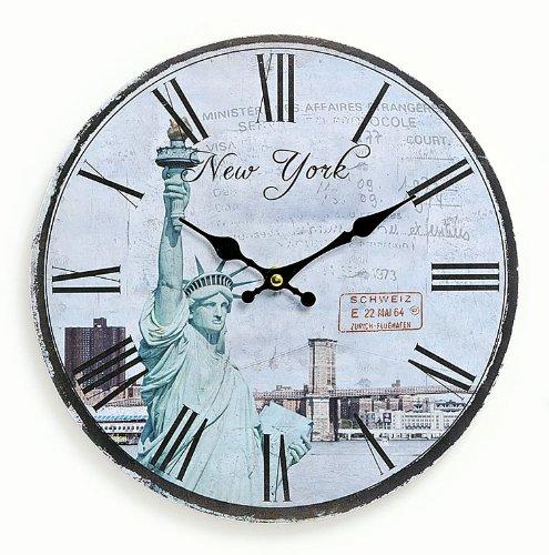 levandeo Wanduhr aus Holz 29cm - Motiv: Amerika USA New York Freiheitsstatue - Küchenuhr Uhr römische Ziffern Quartzuhr