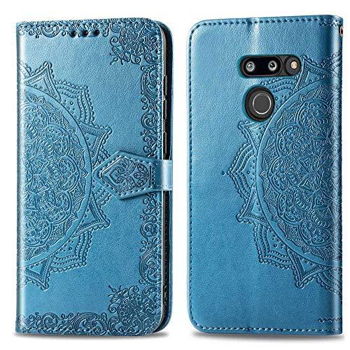 Bear Village Hülle für LG G8 ThinQ, PU Lederhülle Handyhülle für LG G8 ThinQ, Brieftasche Kratzfestes Magnet Handytasche mit Kartenfach, Blau