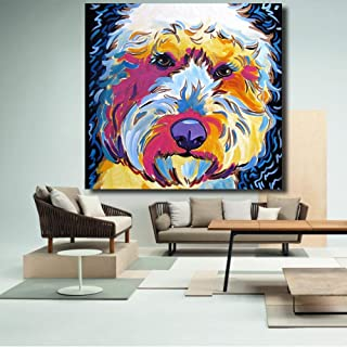 LIEFENGDAO Decorative Paintings Animal Golden Doodle Dog Art Portrait Oil Painting Wall Painting On Canvas Art Prints for Living Room Home Decor,28X28