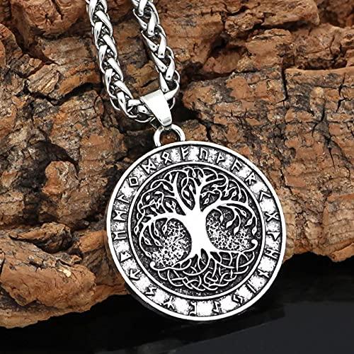 Chenfeng Collares de Hombre Collar con Grabado de árbol de la Vida para Hombre Gargantilla de árbol de la Vida Estilo Vikingo en Relieve Redondo Regalo para Esposo Padre Novio Regalo de cumpleaños