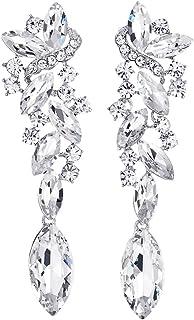 Art Deco Wedding Bridal Party Rhinestone Marquise Cluster Chandelier Long Dangle Statement Earrings