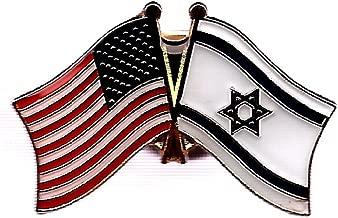 Pack of 3 Israel & US Crossed Double Flag Lapel Pins, Israeli & American Friendship Pin Badge