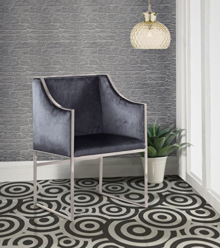 Iconic Home Rowan Modern Contemporary Steel Frame Velvet Accent Chair, Grey