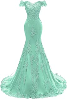 Ri Yun Women's Off The Shoulder Prom Dress Long Mermaid Lace Beaded Evening Ball Gown