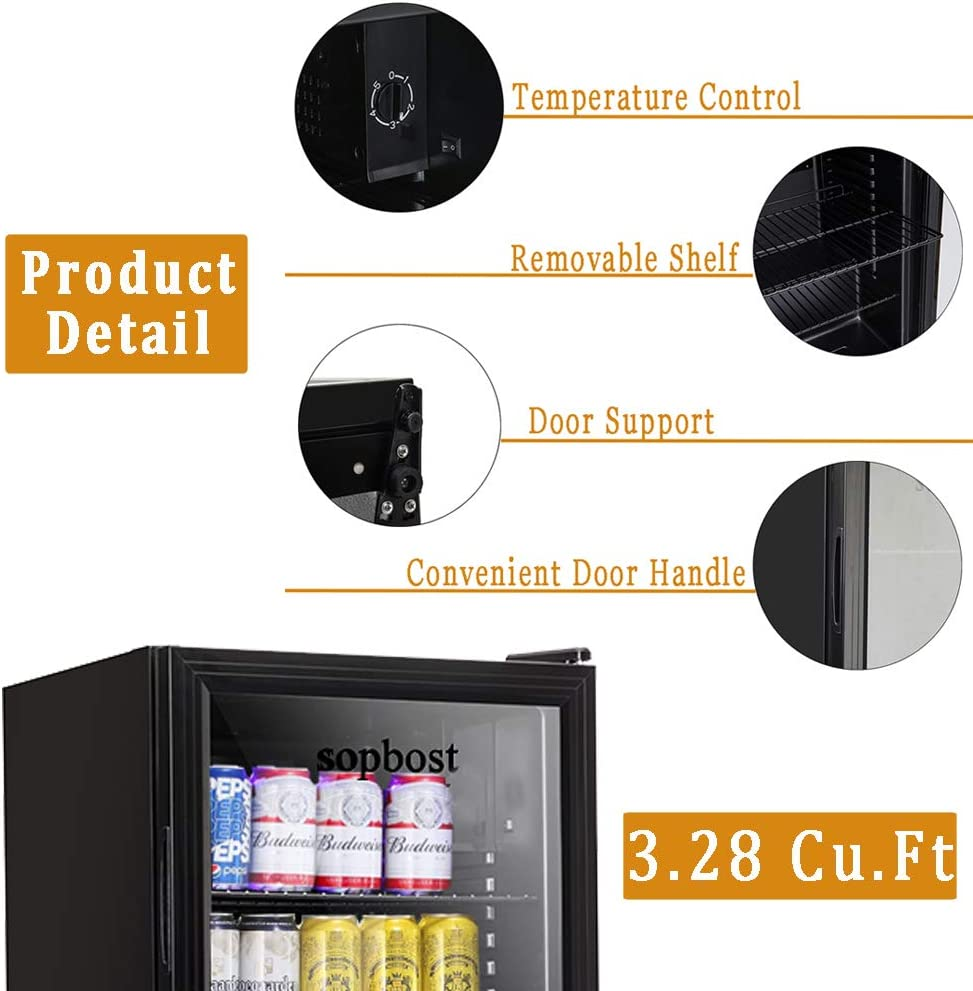 with 3 Adjustable Removable Shelf Beverage Refrigerator and Cooler 125 Can Mini Fridge for Bedroom with Grass Door 3.28 Cubic Feet Free-standing Beer Fridge 3.28 cu.ft