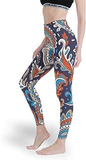 Charzee Yoga löpbyxor för kvinnor komfort Capri kompressionsfunktion och Quick-Dry-funktion mandala blommönster streetwear...