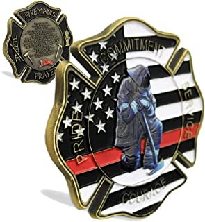 Creative Firefighters Gift United States Thin Red Line Flag Maltese Cross Fireman's Prayer Challenge Coin