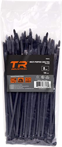 "TR Industrial TR88302 Industrial Multi-Purpose UV Cable Ties, 100-Piece, 200mm (8"")"