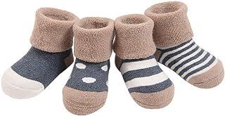 (Pack de 4 pares) Calcetines para Bebés niños Infantiles Rayados Gruesos de Algodón con puntos 0-6 meses 6-12 meses 1-2 años Gris