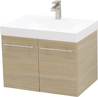 WindBay Wall Mount Floating Bathroom Vanity Sink Set. Tan Vanity, White Integrated Sink Countertop - 29.25
