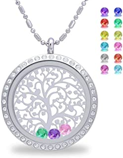 Birthstone Family Tree of Life Screw Floating Charm Living Memory Locket, DIY Stainless Steel Toughened Glass Pendant Necklace