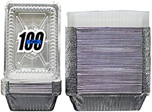 """100 Pack of Disposable Takeout Pans with Clear Lids – 2 Lb Capacity Aluminum Foil Food Containers – Strong Seal for Freshness – Eco-Friendly and Recyclable – 8x5.5"""" Inch Drip Pans - By MontoPack"""