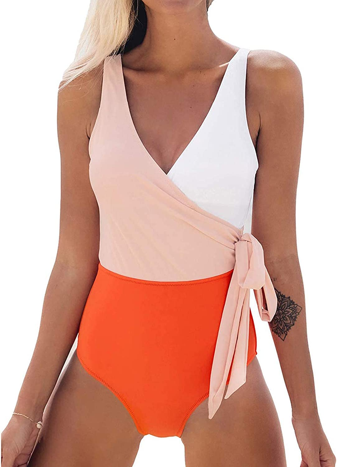 Women One Piece V-Neck Swimsuit Wrap Color Block Tie Side Bathing Suit Wrap Push Up High Waisted Swimsuit Tankini
