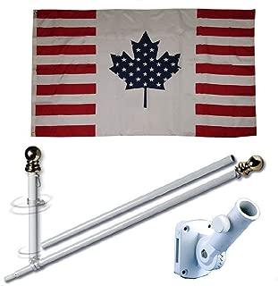 MWS 3'X5' USA America Canada Canadian Friendship Alliance 150D 3x5 Flag Set (Super Polyester) w/Heavy Duty 6-Feet Spinning Flag Pole Bracket Residential Commercial