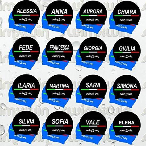SwimmerWear - Cuffia in Silicone per Piscina con Nome Nera - Luca