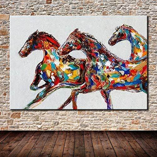 SUNFFFW Pintado A Mano Pintura En Lienzo Artes Cartel Hecho A Mano Tres Caballos Pinturas Al Óleo Animales Imagen De Arte De Pared para Sala Decoración De Pared