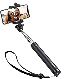 Selfie Stick Bluetooth, BlitzWolf Mini Extendable Selfie Stick with Built-in Wireless Remote for iPhone X/8/8 Plus/7/7 Plus/6/6S/ 6 Plus/5S/SE, Galaxy S9/S9 Plus/Note 8/S8/S8 Plus/S7/S6/Huawei/More