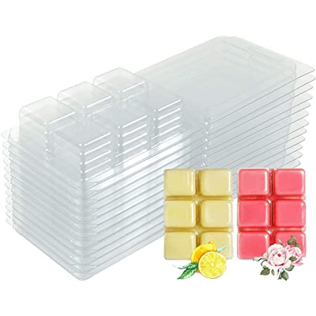 CHICTRY 20 Packs Wax Melt Molds Plastic Empty Clamshells 6 Cavity Wax Melt Cube Trays for Wickless Wax Melt Soap Candle Making Clear One Size