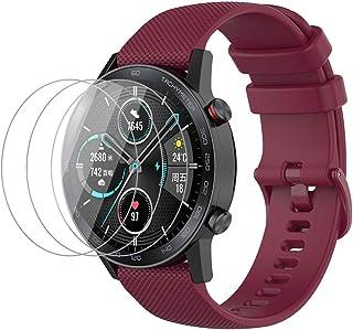 NOKOER Rem för Honor Magic Watch 2 46 mm, [2 in1] mjuk silikonklocka rem + 3-pack TPU skärmskydd, rem ersättning [slitstar...