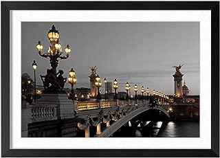 Bridges City - Natural Scenery Art Print Home Decor Wooden Frame Poster(Black Frame 12x16inch)