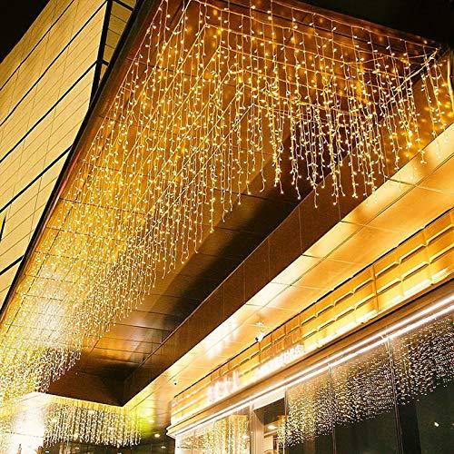 LED Lichtervorhang, 6m * 1m 300 Led PECCIDER 8 Modi Lichterkette Eisregen Vorhang strombetrieben,Lichterkette außen&innen, Hochzeit Weihnachten Party (Warmweiß)