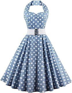 YYLZA Polka Dot Print Vintage Dress Women Cotton Sleeveless Halter Swing Party Dresses