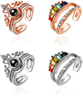 XIMEO 4PCS I Love You Rings 100 Languages Fashion Crystal Love Memory Projection on Round Onyx Pendant Loving Memory Rings...