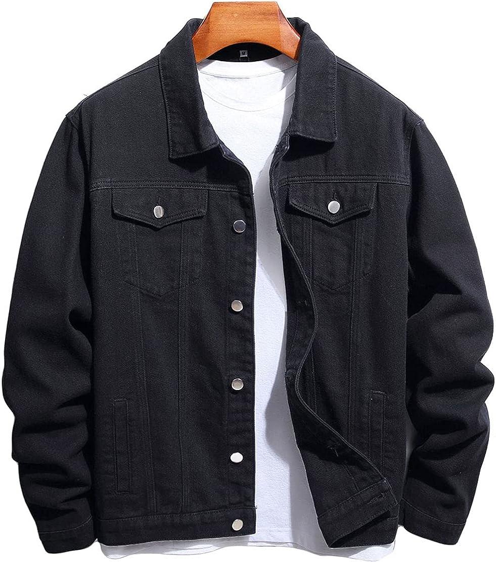 CHARTOU Men's Casual Long Sleeve Button Denim Trucker Jacket Biker Jean Coat Outwear