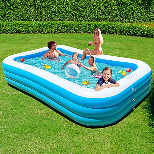 ALLADINBOX Inflatable Family Swimming Pool,118' x 72' x 22' Full-Sized Lounge Pool Large Rectangle Swim Center for Backyard Summer Pool Party & Ball Pits, for Kids & Adults, Baby for Ages 3+,Outdoor