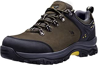 CAMEL CROWN Hiking Shoes Men Trekking Shoe Low Top Outdoor Walking Waterproof Leather Trail Sneakers Green Size: 8.5 D(M) US(Pls Order a Half Size Down)